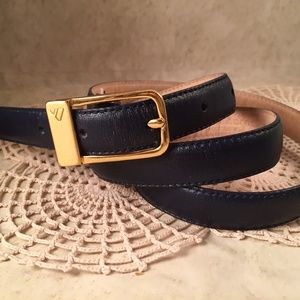 LIZ CLAIBORNE Size Large Belt Navy Blue Leather
